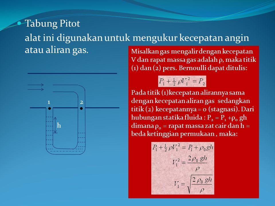 Tabung Pitot alat ini digunakan untuk mengukur kecepatan angin atau aliran gas. h 12 Misalkan gas mengalir dengan kecepatan V dan rapat massa gas adal