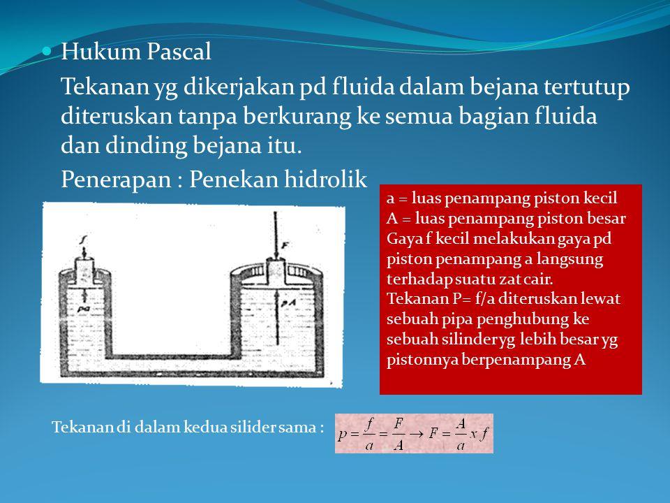 Hukum Pascal Tekanan yg dikerjakan pd fluida dalam bejana tertutup diteruskan tanpa berkurang ke semua bagian fluida dan dinding bejana itu. Penerapan