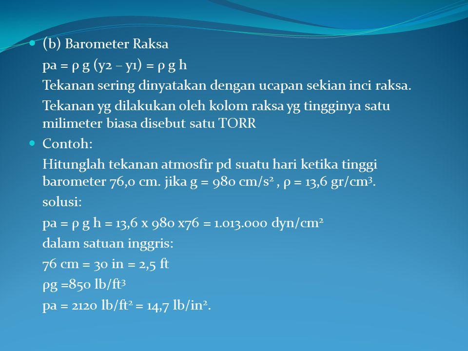 ( b) Barometer Raksa pa = ρ g (y2 – y1) = ρ g h Tekanan sering dinyatakan dengan ucapan sekian inci raksa. Tekanan yg dilakukan oleh kolom raksa yg ti