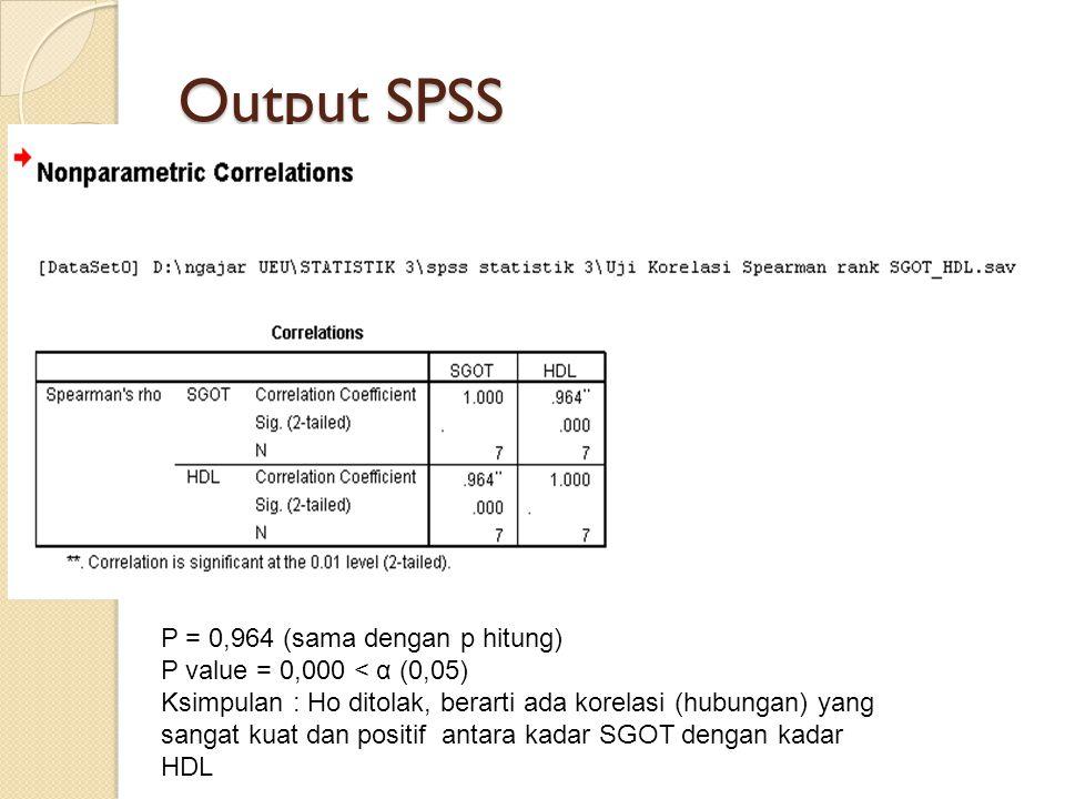 Output SPSS P = 0,964 (sama dengan p hitung) P value = 0,000 < α (0,05) Ksimpulan : Ho ditolak, berarti ada korelasi (hubungan) yang sangat kuat dan p