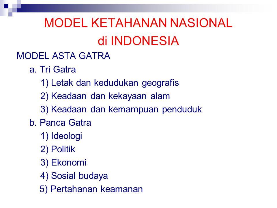 MODEL KETAHANAN NASIONAL di INDONESIA MODEL ASTA GATRA a.