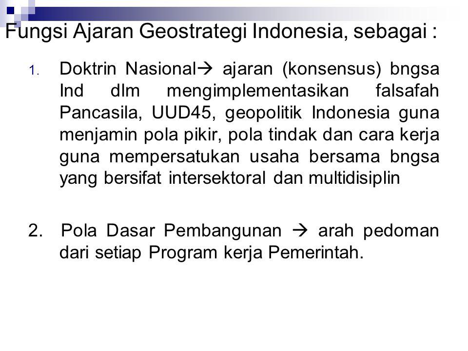 Fungsi Ajaran Geostrategi Indonesia, sebagai : 1.