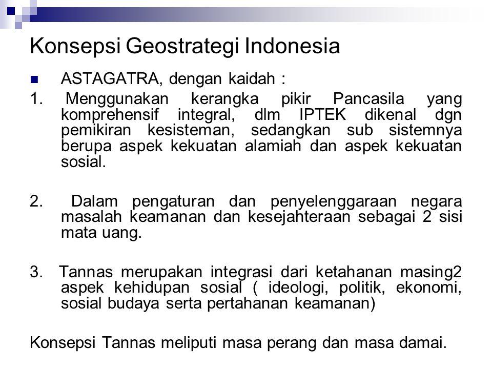 Konsepsi Geostrategi Indonesia ASTAGATRA, dengan kaidah : 1.