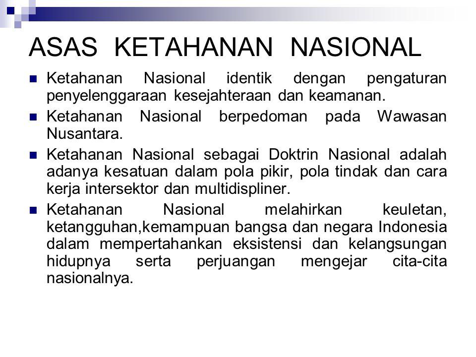 ASAS KETAHANAN NASIONAL Ketahanan Nasional identik dengan pengaturan penyelenggaraan kesejahteraan dan keamanan.