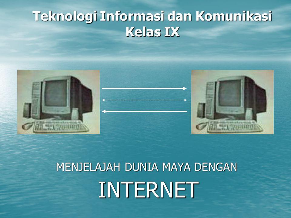 Teknologi Informasi dan Komunikasi Kelas IX MENJELAJAH DUNIA MAYA DENGAN INTERNET INTERNET