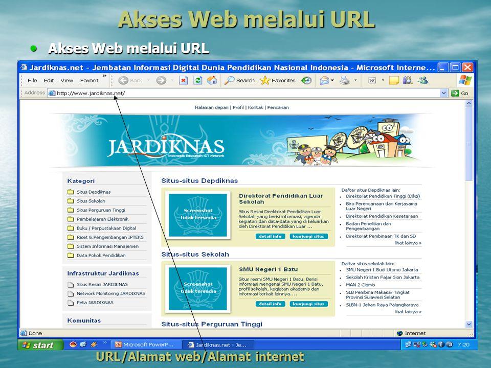 Akses Web melalui URL Akses Web melalui URL Akses Web melalui URL URL/Alamat web/Alamat internet