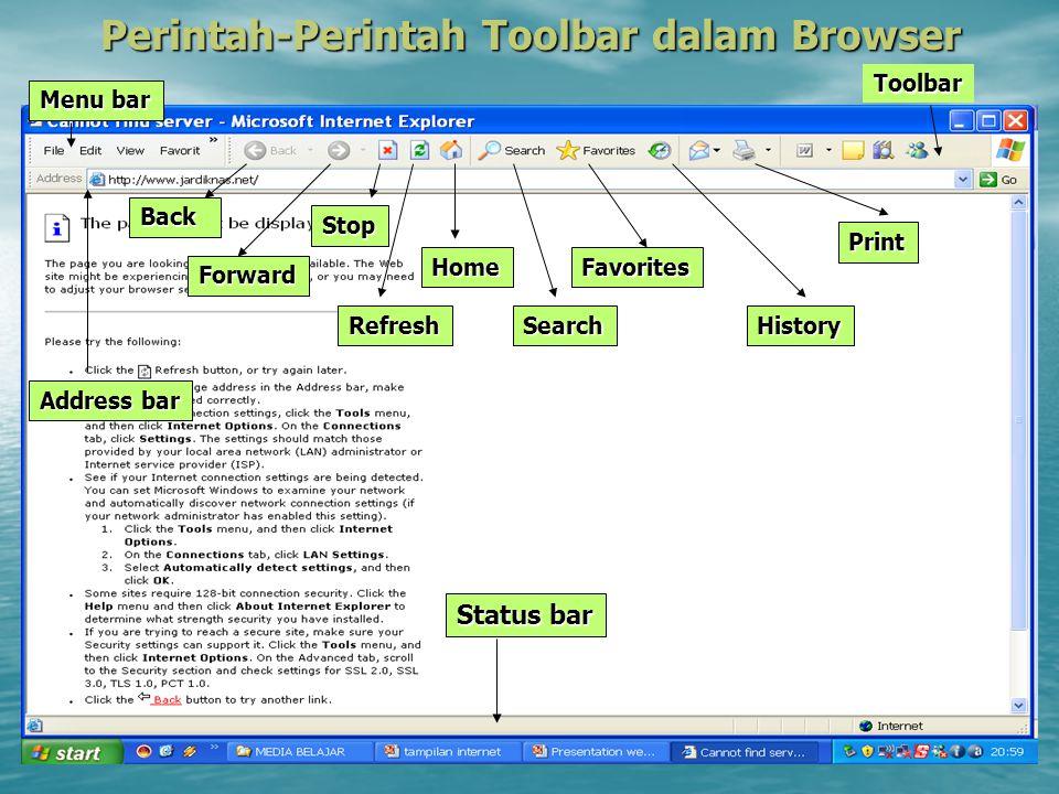 Perintah-Perintah Toolbar dalam Browser Back Forward Stop Refresh Home Search Favorites History Print Toolbar Menu bar Status bar Address bar