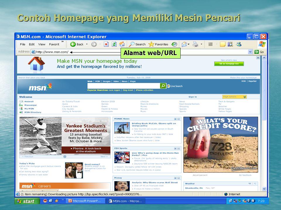 Contoh Homepage yang Memiliki Mesin Pencari Alamat web/URL