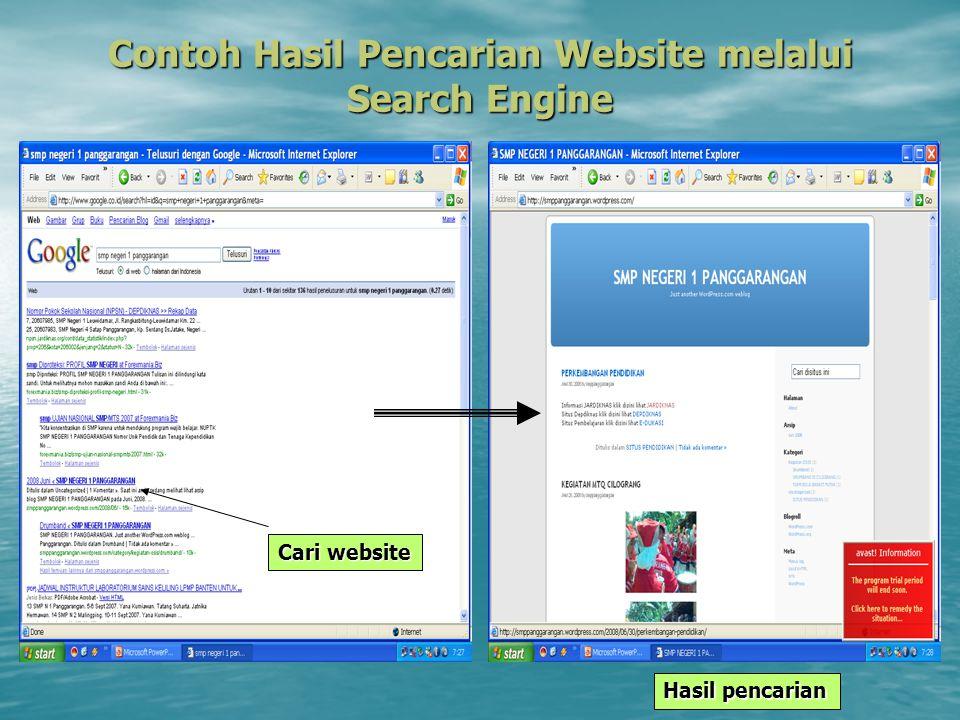 Contoh Hasil Pencarian Website melalui Search Engine Hasil pencarian Cari website