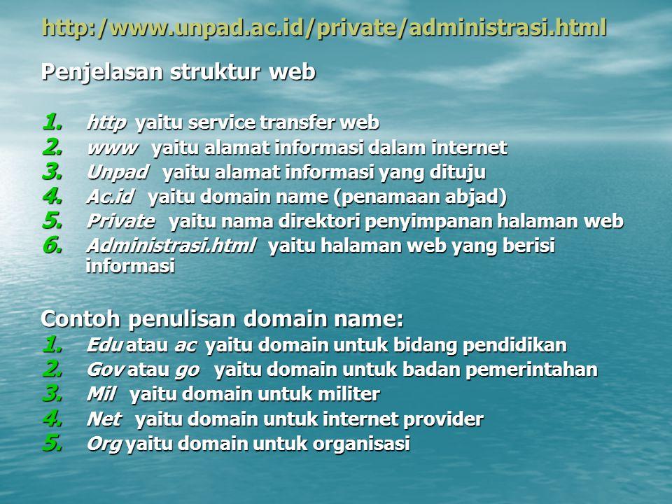 http:/www.unpad.ac.id/private/administrasi.html Penjelasan struktur web 1. http yaitu service transfer web 2. www yaitu alamat informasi dalam interne