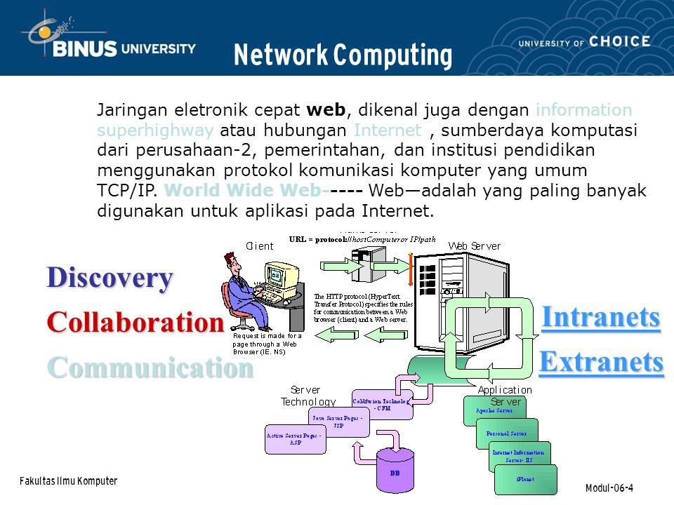 Fakultas Ilmu Komputer Modul-06-4 Network Computing Jaringan eletronik cepat web, dikenal juga dengan information superhighway atau hubungan Internet, sumberdaya komputasi dari perusahaan-2, pemerintahan, dan institusi pendidikan menggunakan protokol komunikasi komputer yang umum TCP/IP.