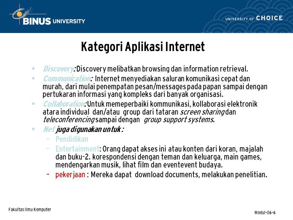 Fakultas Ilmu Komputer Modul-06-27 Collaboration – (continued) Collaborative Networks