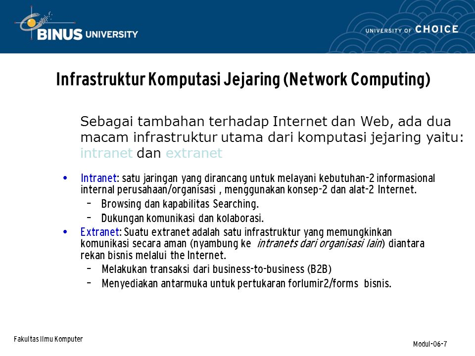 Fakultas Ilmu Komputer Modul-06-18 Discovery - Information & Corporate Portals (continued) Corporate portals