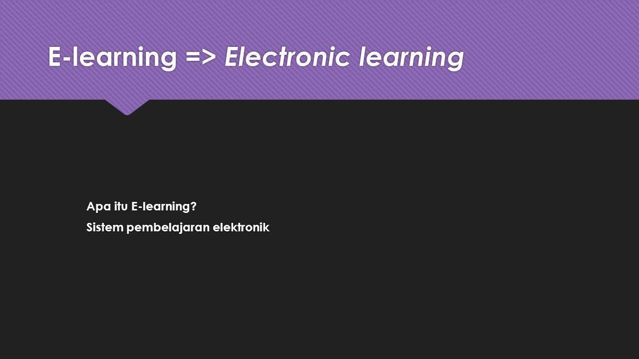 E-learning => Electronic learning Apa itu E-learning? Sistem pembelajaran elektronik Apa itu E-learning? Sistem pembelajaran elektronik