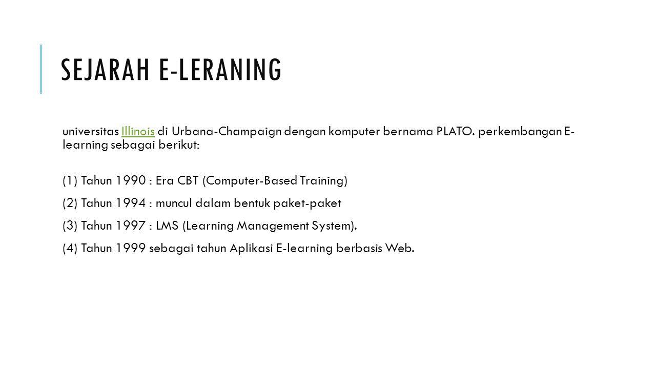 SEJARAH E-LERANING universitas Illinois di Urbana-Champaign dengan komputer bernama PLATO. perkembangan E- learning sebagai berikut:Illinois (1) Tahun