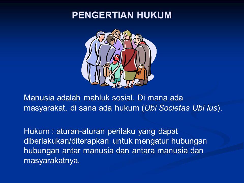 PENGERTIAN HUKUM Manusia adalah mahluk sosial.