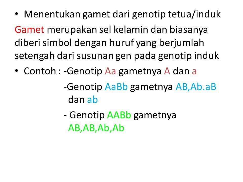 Menentukan gamet dari genotip tetua/induk Gamet merupakan sel kelamin dan biasanya diberi simbol dengan huruf yang berjumlah setengah dari susunan gen