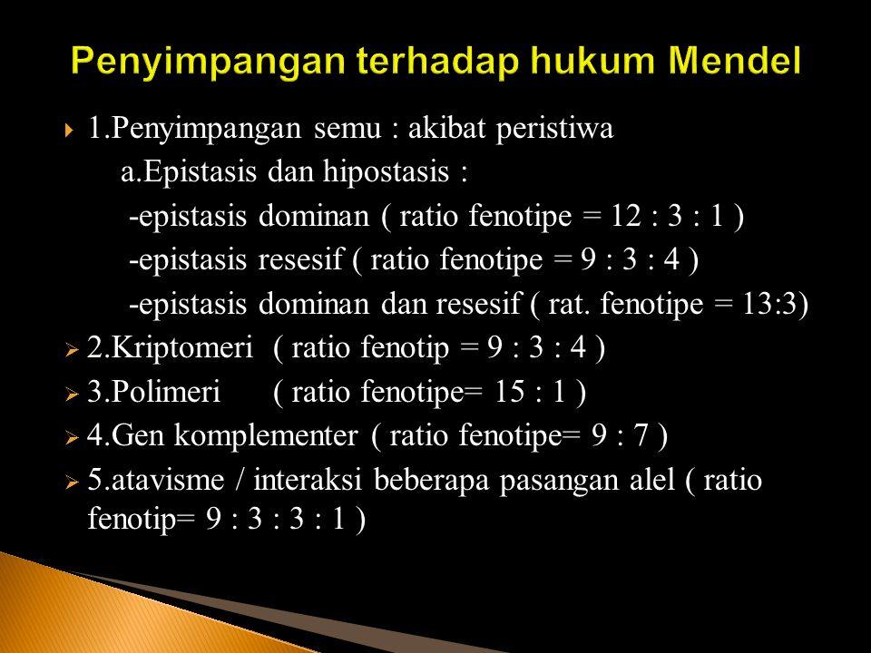  1.Penyimpangan semu : akibat peristiwa a.Epistasis dan hipostasis : -epistasis dominan ( ratio fenotipe = 12 : 3 : 1 ) -epistasis resesif ( ratio fe