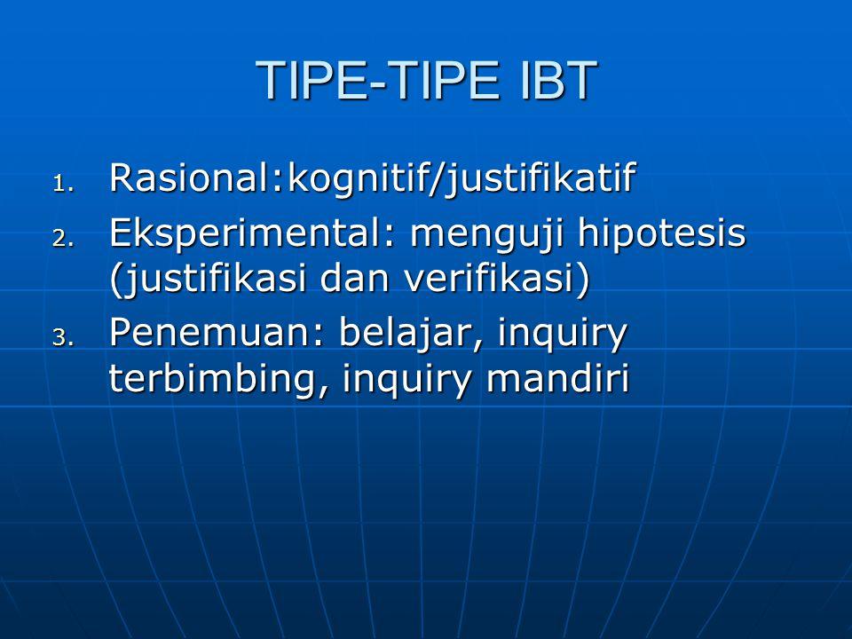 TIPE-TIPE IBT 1. Rasional:kognitif/justifikatif 2.