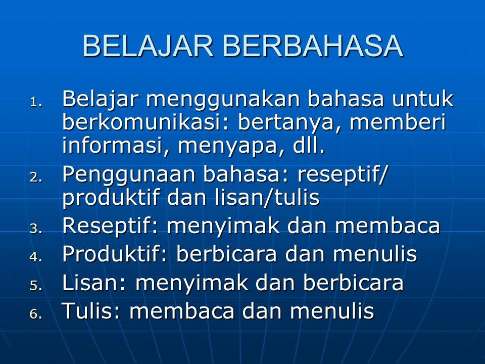 BELAJAR BERBAHASA 1. Belajar menggunakan bahasa untuk berkomunikasi: bertanya, memberi informasi, menyapa, dll. 2. Penggunaan bahasa: reseptif/ produk