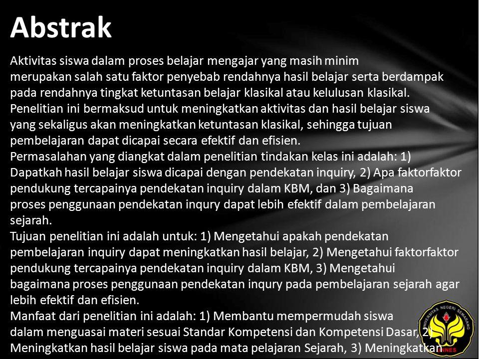 Kata Kunci Aktivitas, Hasil Belajar, Inquiry