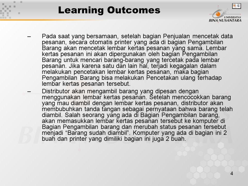 4 Learning Outcomes –Pada saat yang bersamaan, setelah bagian Penjualan mencetak data pesanan, secara otomatis printer yang ada di bagian Pengambilan Barang akan mencetak lembar kertas pesanan yang sama.