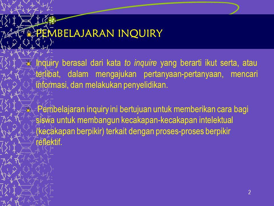 PEMBELAJARAN INQUIRY Inquiry berasal dari kata to inquire yang berarti ikut serta, atau terlibat, dalam mengajukan pertanyaan-pertanyaan, mencari informasi, dan melakukan penyelidikan.