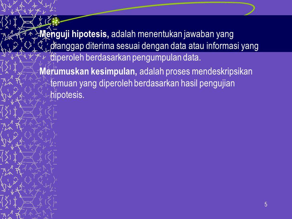 Menguji hipotesis, adalah menentukan jawaban yang dianggap diterima sesuai dengan data atau informasi yang diperoleh berdasarkan pengumpulan data.