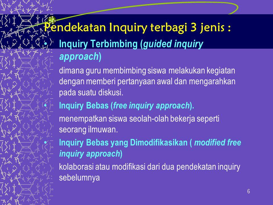 Pendekatan Inquiry terbagi 3 jenis : Inquiry Terbimbing ( guided inquiry approach ) dimana guru membimbing siswa melakukan kegiatan dengan memberi pertanyaan awal dan mengarahkan pada suatu diskusi.