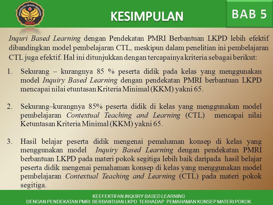 Inquri Based Learning dengan Pendekatan PMRI Berbantuan LKPD lebih efektif dibandingkan model pembelajaran CTL, meskipun dalam penelitian ini pembelajaran CTL juga efektif.