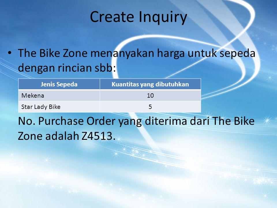 Create Inquiry The Bike Zone menanyakan harga untuk sepeda dengan rincian sbb: No.
