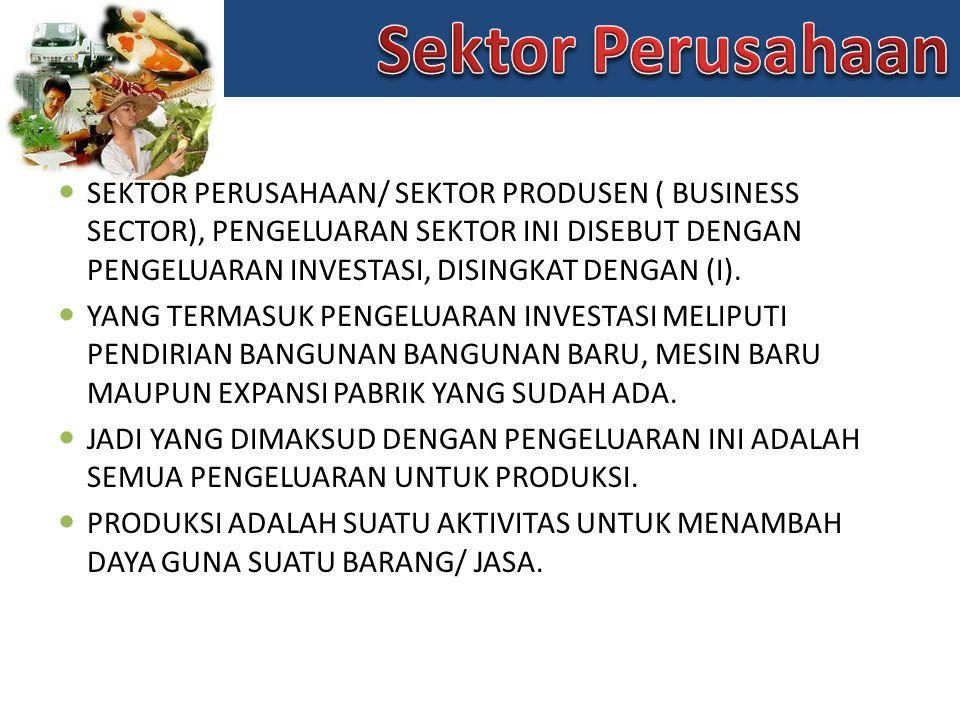 SEKTOR PERUSAHAAN/ SEKTOR PRODUSEN ( BUSINESS SECTOR), PENGELUARAN SEKTOR INI DISEBUT DENGAN PENGELUARAN INVESTASI, DISINGKAT DENGAN (I).