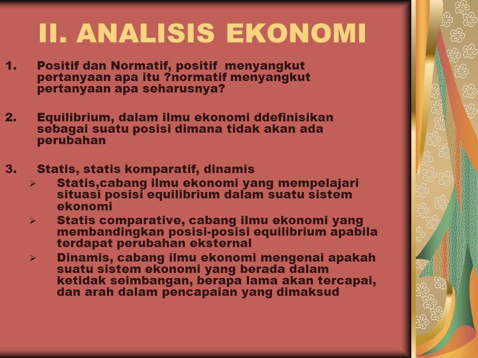 II. ANALISIS EKONOMI 1.Positif dan Normatif, positif menyangkut pertanyaan apa itu ?normatif menyangkut pertanyaan apa seharusnya? 2.Equilibrium, dala