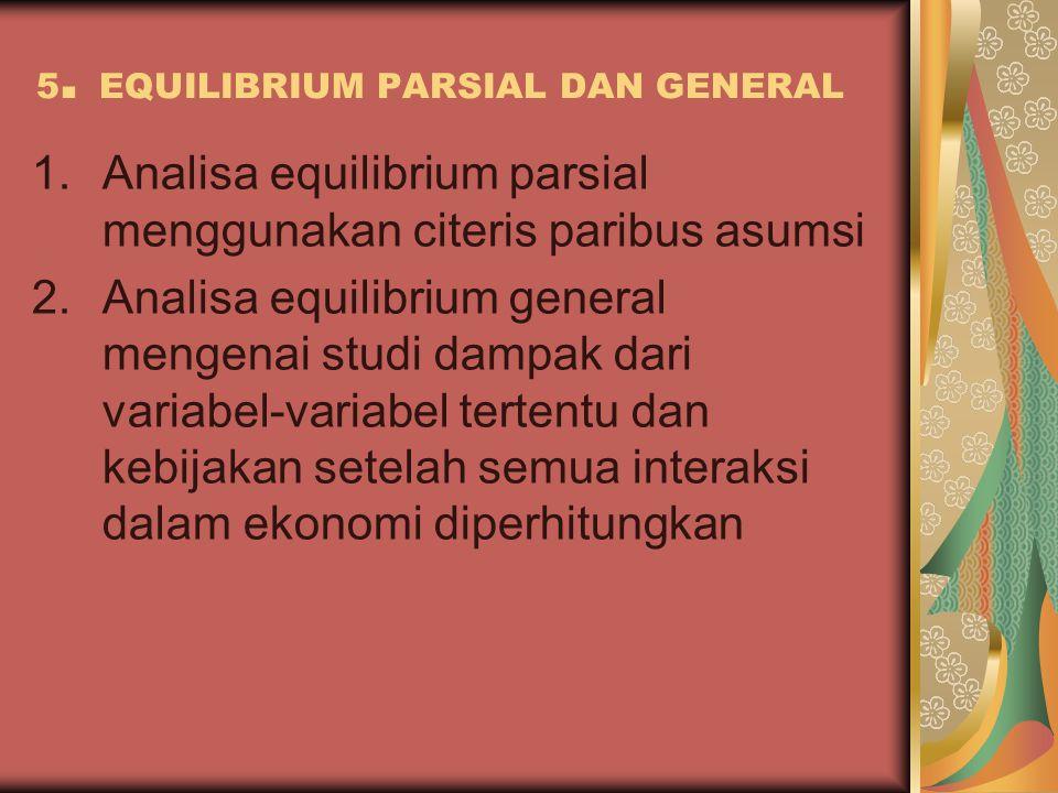 5. EQUILIBRIUM PARSIAL DAN GENERAL 1.Analisa equilibrium parsial menggunakan citeris paribus asumsi 2.Analisa equilibrium general mengenai studi dampa