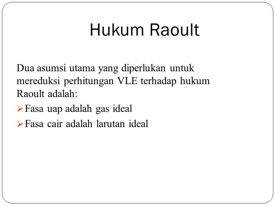 Hukum Raoult Dua asumsi utama yang diperlukan untuk mereduksi perhitungan VLE terhadap hukum Raoult adalah:  Fasa uap adalah gas ideal  Fasa cair ad