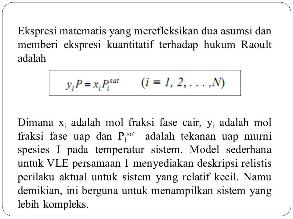 Ekspresi matematis yang merefleksikan dua asumsi dan memberi ekspresi kuantitatif terhadap hukum Raoult adalah Dimana x i adalah mol fraksi fase cair,