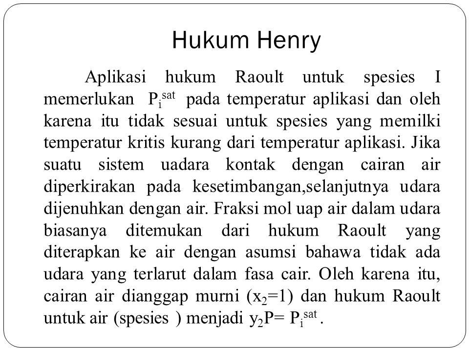 Hukum Henry Aplikasi hukum Raoult untuk spesies I memerlukan P i sat pada temperatur aplikasi dan oleh karena itu tidak sesuai untuk spesies yang memi