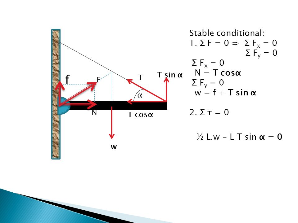 w T f N α T sin α T cosα F Stable conditional: 1. Σ F = 0 ⇒ Σ F x = 0 Σ F y = 0 Σ F x = 0 N = T cosα Σ F y = 0 w = f + T sin α 2. Σ τ = 0 ½ L.w - L T