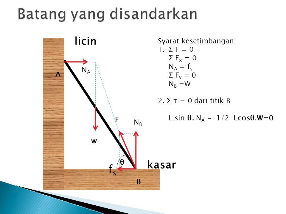 licin kasar A B NANA NBNB fsfs θ Syarat kesetimbangan: 1.Σ F = 0 Σ F x = 0 N A = f s Σ F y = 0 N B =W 2. Σ τ = 0 dari titik B L sin θ. N A - 1/2 Lcosθ