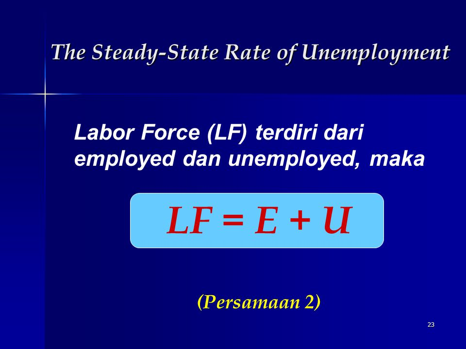 23 Labor Force (LF) terdiri dari employed dan unemployed, maka LF = E + U (Persamaan 2) The Steady-State Rate of Unemployment