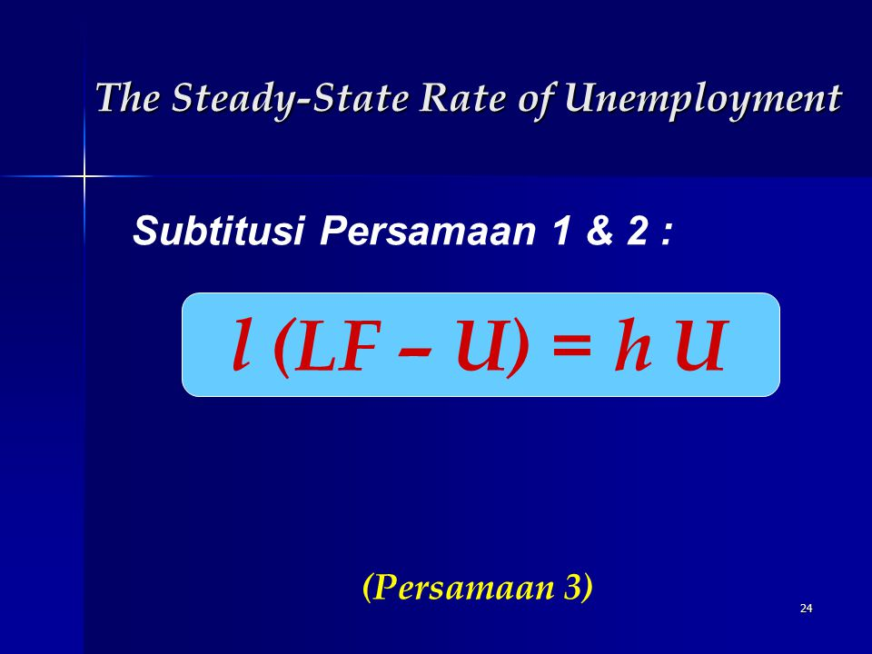 24 Subtitusi Persamaan 1 & 2 : l (LF – U) = h U (Persamaan 3) The Steady-State Rate of Unemployment