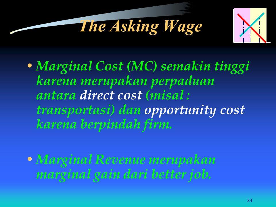34 Marginal Cost (MC) semakin tinggi karena merupakan perpaduan antara direct cost (misal : transportasi) dan opportunity cost karena berpindah firm.