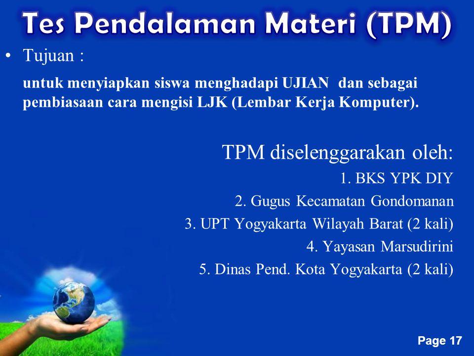 Free Powerpoint Templates Page 17 Tujuan : untuk menyiapkan siswa menghadapi UJIAN dan sebagai pembiasaan cara mengisi LJK (Lembar Kerja Komputer). TP