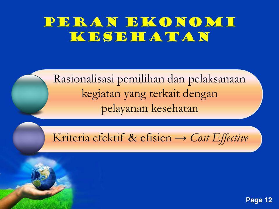 Free Powerpoint Templates Page 12 PERAN EKONOMI KESEHATAN Rasionalisasi pemilihan dan pelaksanaan kegiatan yang terkait dengan pelayanan kesehatan Kriteria efektif & efisien → Cost Effective