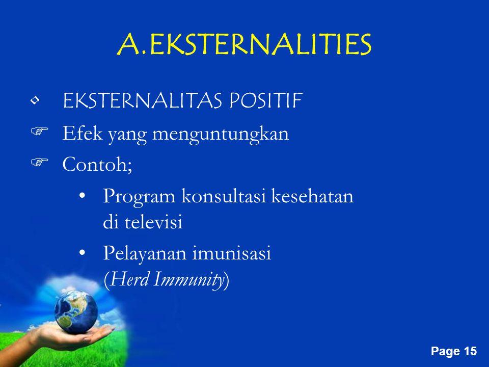 Free Powerpoint Templates Page 15 A.EKSTERNALITIES EKSTERNALITAS POSITIF  Efek yang menguntungkan  Contoh; Program konsultasi kesehatan di televisi Pelayanan imunisasi (Herd Immunity)