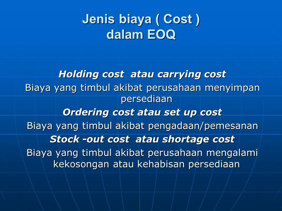 Jenis biaya ( Cost ) dalam EOQ Holding cost atau carrying cost Biaya yang timbul akibat perusahaan menyimpan persediaan Ordering cost atau set up cost