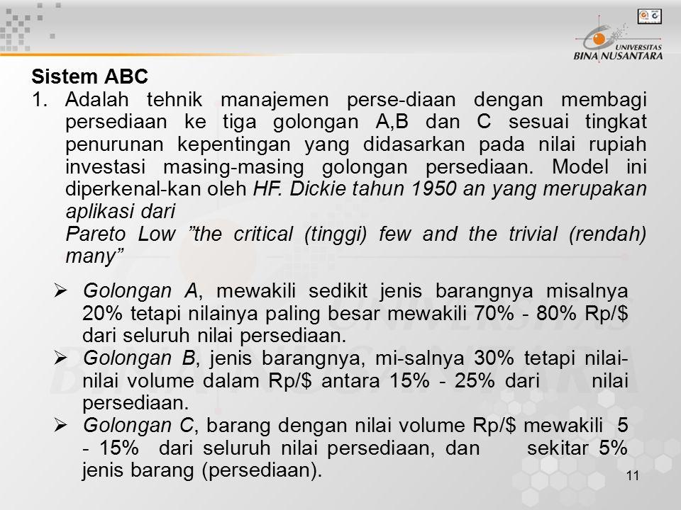 11 Sistem ABC 1.Adalah tehnik manajemen perse-diaan dengan membagi persediaan ke tiga golongan A,B dan C sesuai tingkat penurunan kepentingan yang didasarkan pada nilai rupiah investasi masing-masing golongan persediaan.