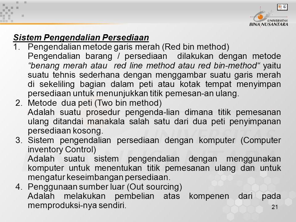 21 Sistem Pengendalian Persediaan 1.Pengendalian metode garis merah (Red bin method) Pengendalian barang / persediaan dilakukan dengan metode benang merah atau red line method atau red bin-method yaitu suatu tehnis sederhana dengan menggambar suatu garis merah di sekeliling bagian dalam peti atau kotak tempat menyimpan persediaan untuk menunjukkan titik pemesan-an ulang.