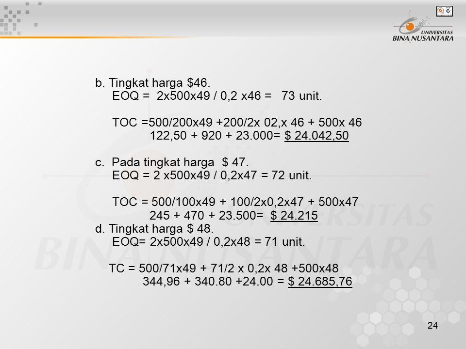 24 b. Tingkat harga $46. EOQ = 2x500x49 / 0,2 x46 = 73 unit. TOC =500/200x49 +200/2x 02,x 46 + 500x 46 122,50 + 920 + 23.000= $ 24.042,50 c. Pada ting