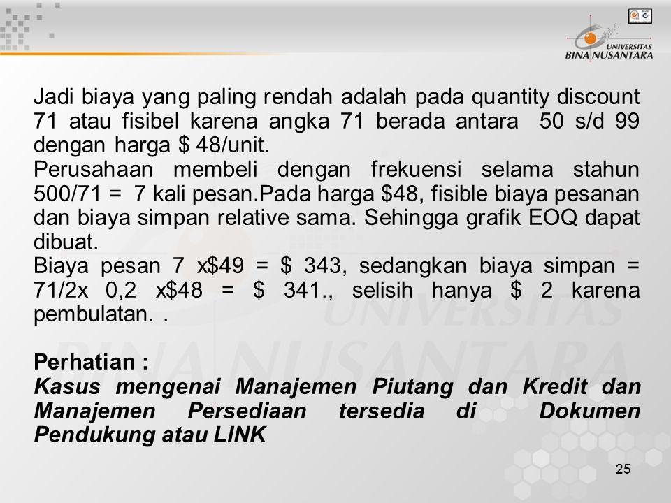25 Jadi biaya yang paling rendah adalah pada quantity discount 71 atau fisibel karena angka 71 berada antara 50 s/d 99 dengan harga $ 48/unit. Perusah